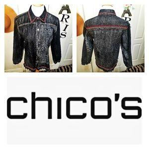Chico's Design Black Stonewashed Denium Jacket